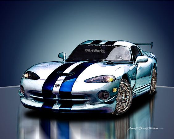 Sports Car Print   Dodge Viper V10  Supercar Print  by ArtWorkz, $20.00