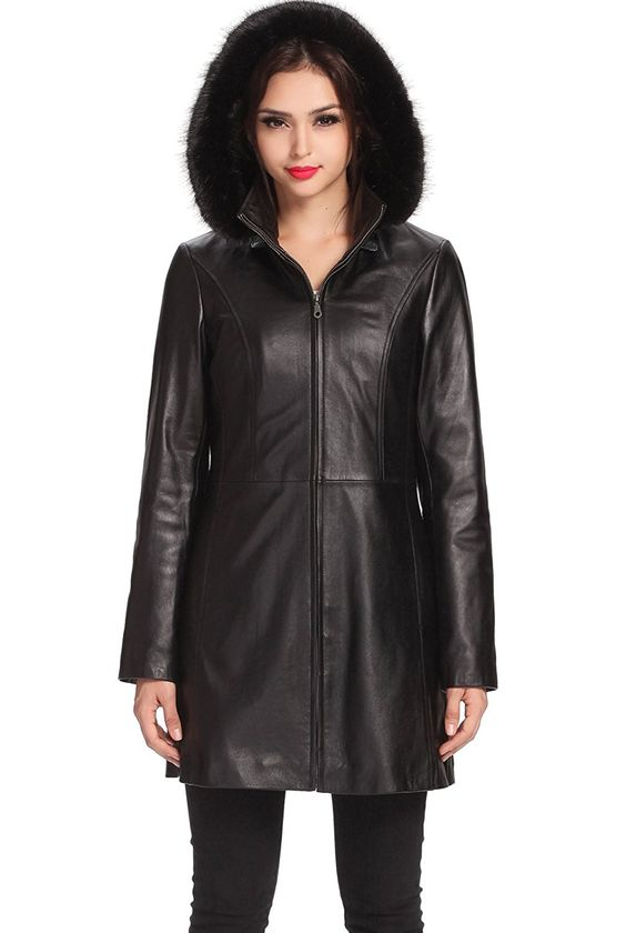 "BGSD Women's ""Irene"" MIssy & Plus Size New Zealand Lambskin Leather Parka Coat at Amazon Women's Coats Shop"