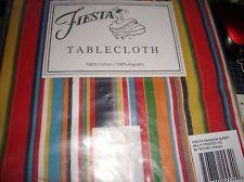 "Fiestaware ""Rainbow Burst"" Tablecloth 60"" Round Multicolor Cotton."