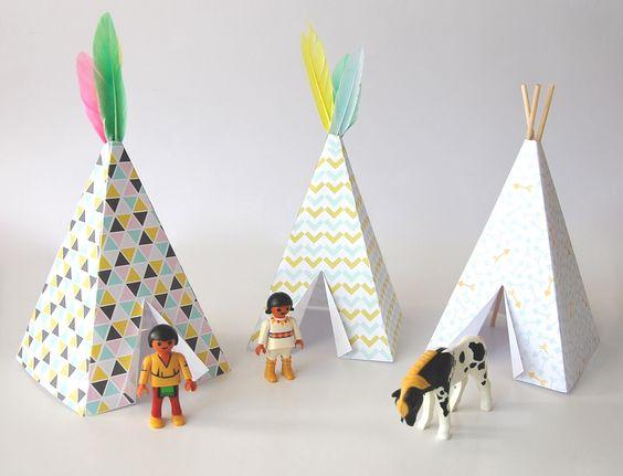 pöm: Les jolis Tipis : DIY du papier normal, - une imprimante, - des ciseaux, - de la colle ou du masking tape, - pour la déco : des plumes ou des petits bâtons (piques à brochette par exemple). Les plumes viennent de chez Carrefour.