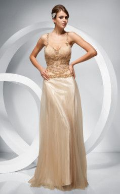 Sheath/ Column Straps Floor-length Elastic Woven Satin Tulle Evening Dress
