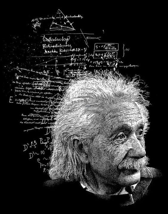 数式に埋め尽くされたアルベルト・アインシュタインの壁紙・画像