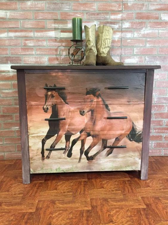 SOLD! ** NLA ** SOLD! Rustic Furniture, Painted Dresser, Antique Dresser, Horse Dresser, Paint #countryfurniture