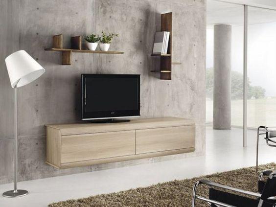 Meuble tv mural en ch ne curve domus arte meubles for Meuble mural en pin