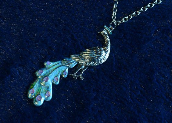 #Holographic #Peacock #Necklace by TheGreenClock on Etsy