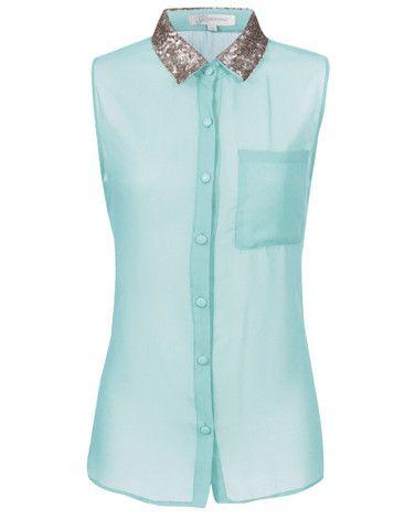 Mint Sequin Collar Blouse by Kiki's Boutique £24.95