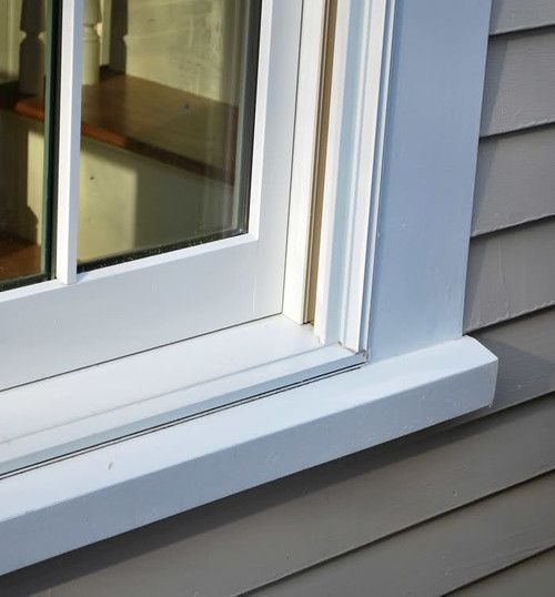 Azek Historic Sill Installed With A Marvin Window The Marvin Has A Thinner Sill Than Andersen Bu Window Trim Exterior Exterior Window Molding Windows Exterior