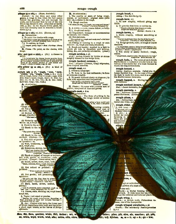 Butterfly Art Print, Blue Green Butterfly Dictionary Art Print, Wall Decor, Home Decor, Art Page. $10.00, via Etsy.