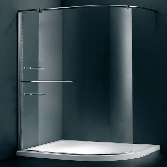 Duchy Style Curved Walk In Wet Room Glass Shower Enclosure