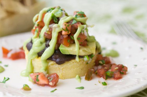 Peaceful Plate » Chipotle Polenta Cakes w/ Beans, Salsa Fresca, & Avocado Crema » Peaceful Plate
