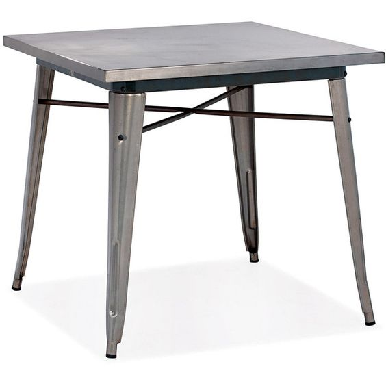 Thos. Baker Hudson Dining Table (Gunmetal) ($395) ❤ liked on Polyvore featuring home, furniture, tables, dining tables, dark grey furniture, yard furniture, charcoal furniture, bistro dining table and bistro table
