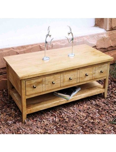 Groove Oak Solid Mango Wood Coffee Table with Drawers and Adjustable Shelf