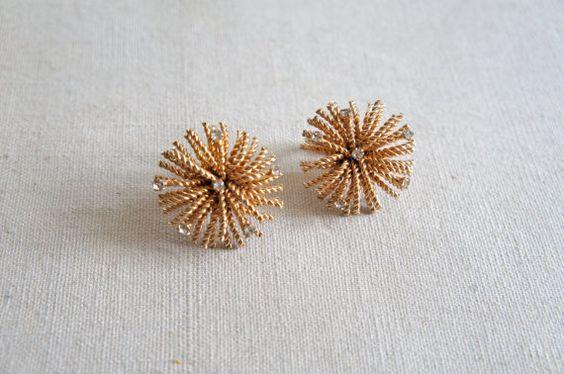 Vintage Gold Starburst Earrings | Bergere Rhinestone Clip-ons by SunnywoodVintage, $20.00