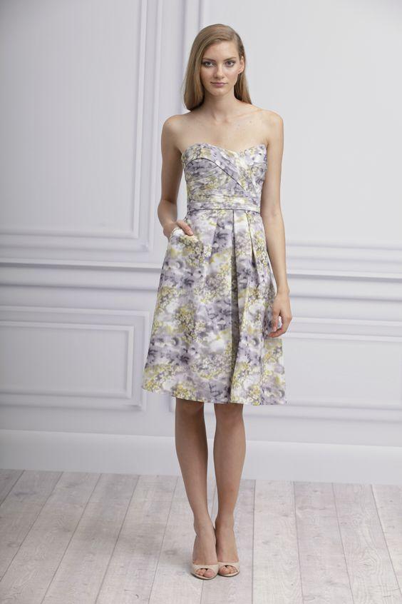 patterned bridesmaid dress by Monique Lhuillier