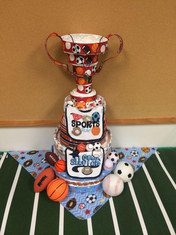Diaper Cake w/ Trophy - All Stars (football, basketball, baseball and soccer)  http://phoenix888designs.wix.com/home