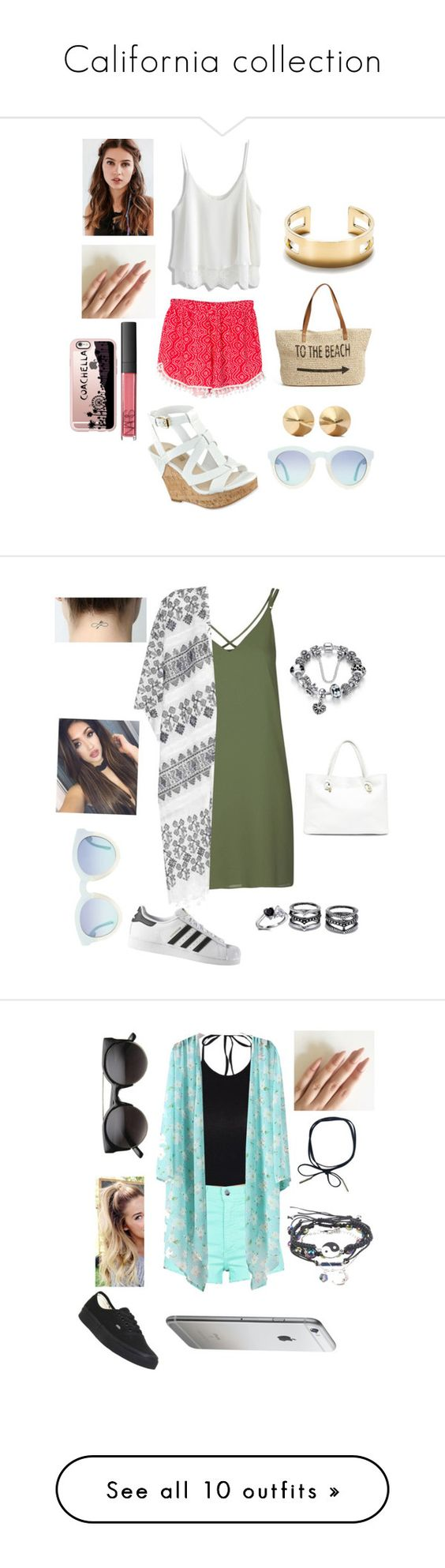 """California collection"" by lovely-leah-leah ❤ liked on Polyvore featuring Chicwish, WithChic, GUESS, Straw Studios, Tiffany & Co., Eddie Borgo, REGALROSE, NARS Cosmetics, Casetify and art"