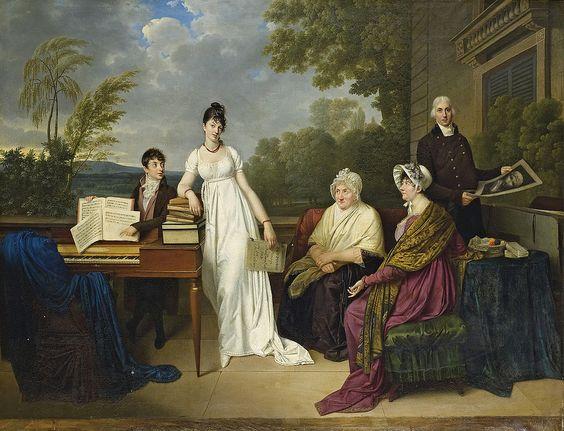 Adèle Romany - Portrait de la famille de l'artiste posant devant le chateau de Juilly: