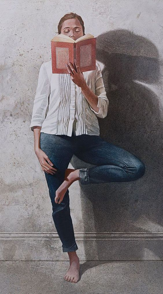 """Standing Figure Reading 1"" - Maxwell Doig (British, b. 1966), mixed media on canvas panel, 2014 {figurative art female with book balanced woman painting #loveart} Scholar !! maxwelldoig.com:"
