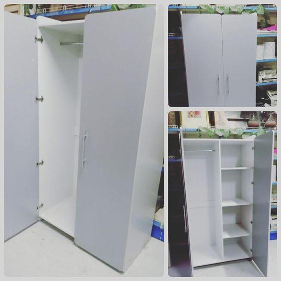 For Sale Wood Cabinet 2 Door Size 95 180 New Price 23 Bd للبيع كبت ملابس بابين لون ابيض مع رصاصي مقاس 95 180 جديد Locker Storage Storage Furniture