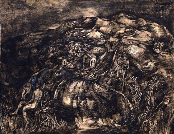 John Minton. 'Welsh Landscape'. Pen, ink and watercolour on paper. 1943.dense, complex, poetic