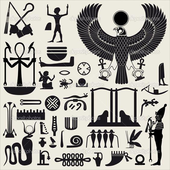 Egyptian Symbol Stencils Egyptian Symbols And Sign Set 2 Stock