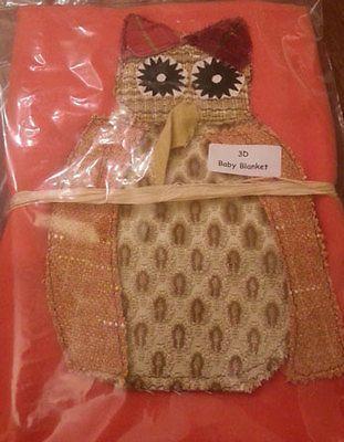 Baby Blankets with baby Owl - 100% Fleece & applique, 3 D Themes - Owl Via Ebay