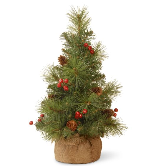 "Miniature 18"" Green Pine Artificial Christmas Tree"