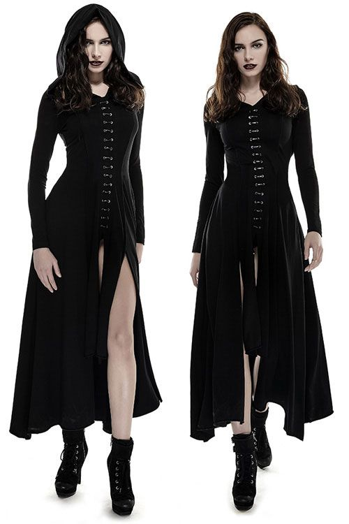 Bagira Black Gothic Coat-Dress by Punk Rave is made from stretch black cotton knit and has faux-leather lacing down the centre front and back. The large hood is lined with black lace.
