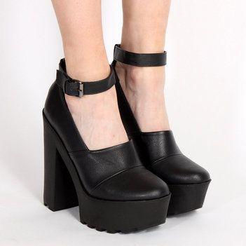 Ark for Women Ark Black Pipe Platform Ankle Strap Shoes