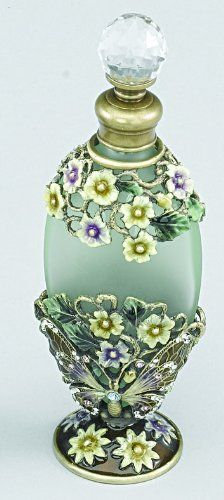 Elegance Silver Butterfly Flower Perfume Bottle With Crystal