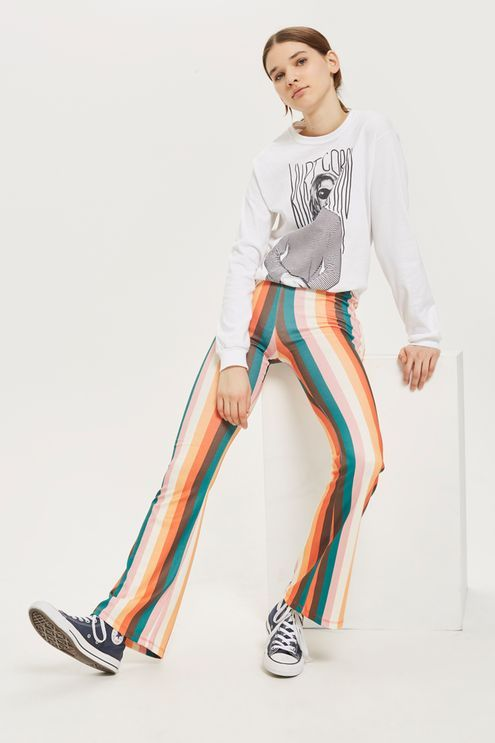 Rainbow Striped Flared Trousers