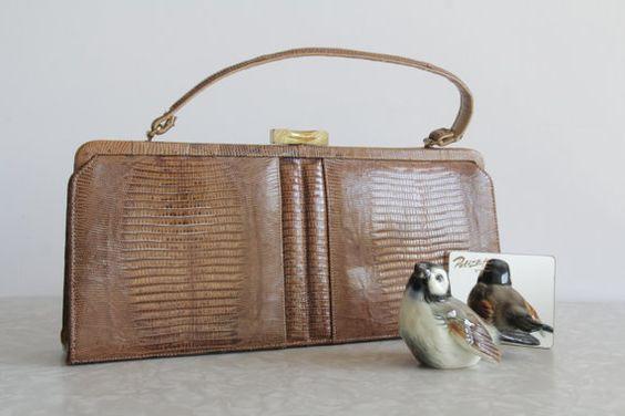 Vintage Lizard Skin Purse  Tan and Gold  High Fashion by VeraVague, $115.00