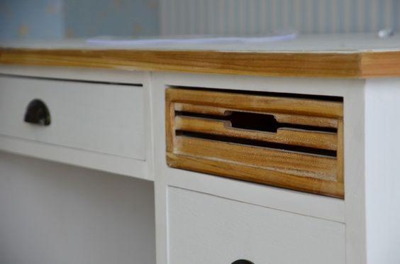 Schreibtisch Burgund - Antik Look - weiß/graubeige - lackiert