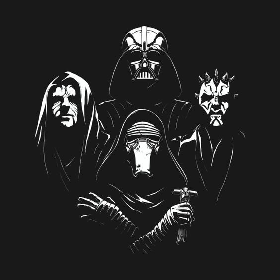 Star Wars Bohemian Rhapsody T Shirt. This awesome Sith Queen mashup design features Darth Vader, Darth Maul, Darth Sidious (The Emperor) and Kylo Ren.