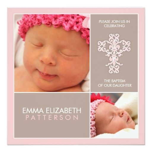 Sweet and Modern Baptism Baby Girl Invitation