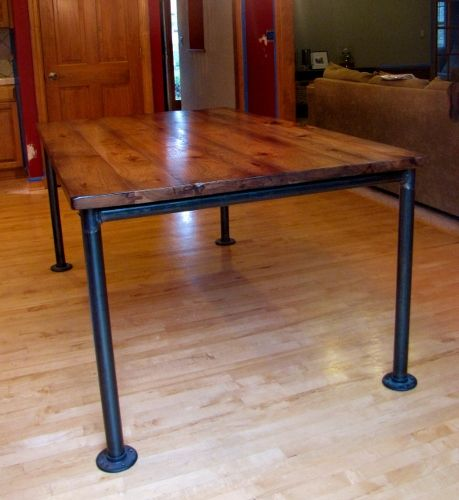 would like this as coffee table with a shelf hickory topped table with metal pipe base flange at bottom minimal overhang medium distress black walnut black steel pipe furniture
