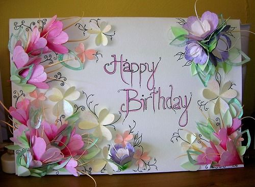 Happy Birthday: 3D Flower Card. By Eleanor.A