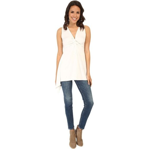 Karen Kane Twist Front Tank Top Women's Sleeveless (€45) ❤ liked on Polyvore featuring tops, beige, v neck tank top, white singlet, white tank top, v-neck tank and sleeveless tank tops