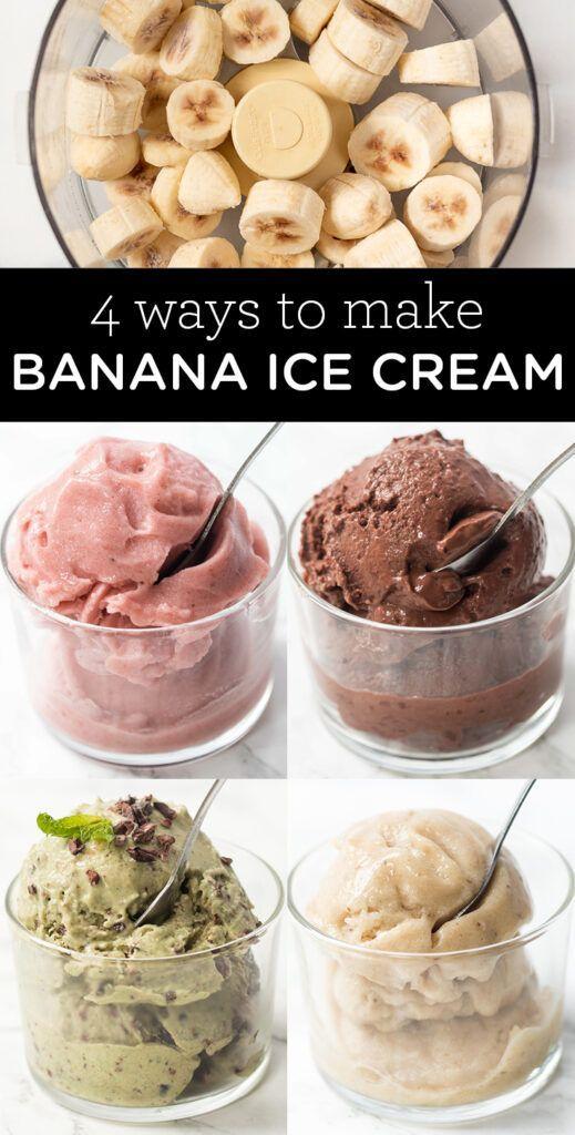 How To Make Banana Ice Cream 4 Flavors Simply Quinoa Recipe In 2020 Healthy Banana Ice Cream Recipe Frozen Snack Banana Ice Cream Healthy