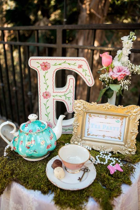 Table decor from a shabby chic alice in wonderland birthday party ...