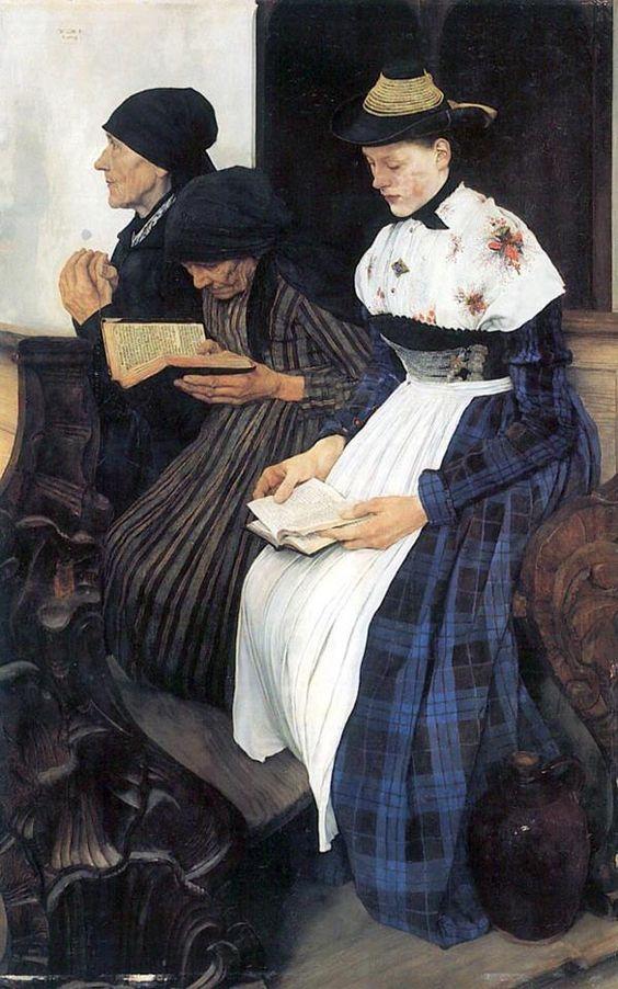 """Wilhelm Leibl, """"Die drei Frauen in der Kirche"""", 1878-1881, Öl/ Mahagoniholz"""