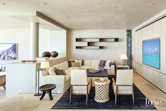 Contemporary Neutral Family Room with Built-In Television: