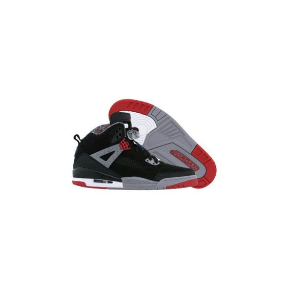 Jordan Spizike (black cement grey fire red) Shoes ($160) ❤ liked on Polyvore