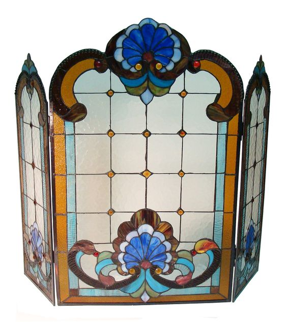 Tiffany 3 Panel Stained Glass Fireplace Screen Stained Glass Fireplace Screen Fireplaces And