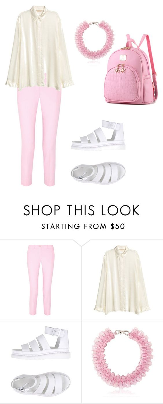 """""""Untitled #362"""" by lexikth ❤ liked on Polyvore featuring Michael Kors, H&M, Dr. Martens, Mary Katrantzou, cute, white, Pink, sandals and pastel"""