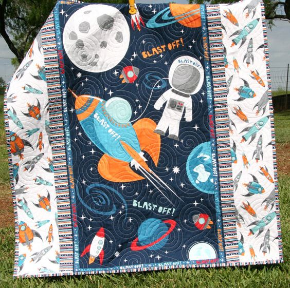 Space Quilt, Baby Boy, Blast Off, Outer space Spaceship, Rocket Planets Moon, Crib Bedding, Nursery Decor, Blue Red Orange, Astronaut Space Quilt Baby Boy Blast Off Outer space by SunnysideDesigns2:
