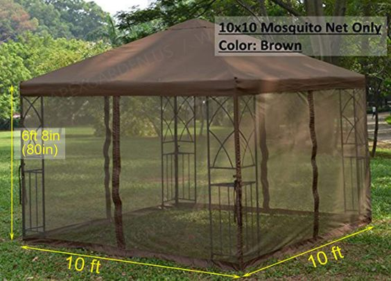 Apex Garden Universal 10 X 10 Gazebo Replacement Mosquito Netting Brown Gazebo Backyard Gazebo Conversation Set Patio
