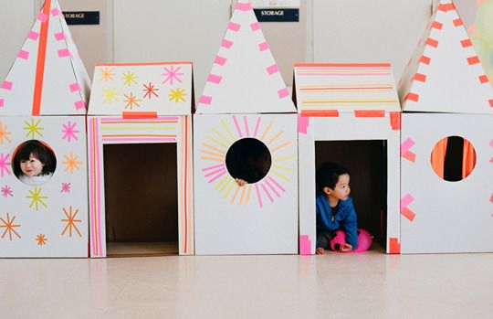 cardboard castle made with neon duct tape