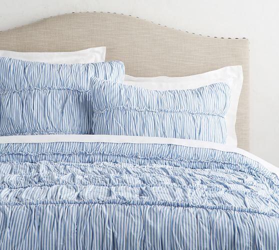 Pottery Barn Rosie Stripe Ruched Quilt Sham Blue White Bedding