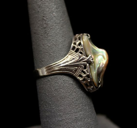 Edwardian Abalone and Sterling Ring - Very Unique Design on Etsy, $125.00
